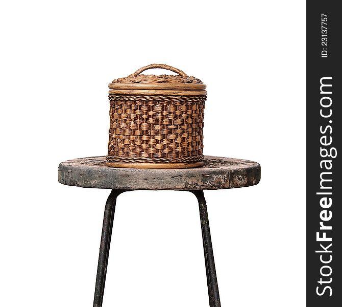 Basket wicker is Thai handmade on grunge chair