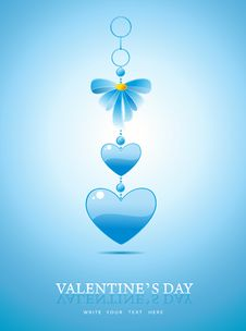 Free Valentines Day Background With Blue Heart Stock Images - 23140474