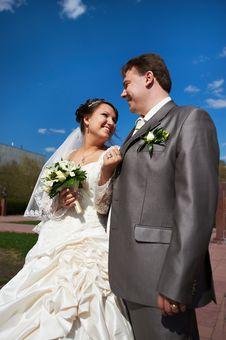 Joyful Bride And Groom Royalty Free Stock Photo