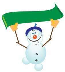 Snow Man With A Ribbon Royalty Free Stock Images
