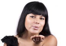 Free Beautiful Brunette Woman Sending Kiss Royalty Free Stock Image - 23147186