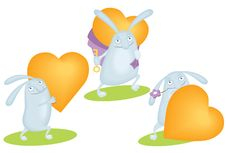 Free Funny Rabbit With Orange Heart Royalty Free Stock Images - 23152589