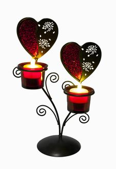 Free Lantern Heart Shape With Fake Candle Stock Photo - 23152670