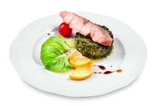 Free Salmon With Spinach Garnish Stock Photo - 23156000