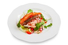 Pork Chop With A Slice Of Salmon On Top, Shrimp Royalty Free Stock Photography