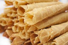 Free Dessert - Sweet Yellow Wafers Royalty Free Stock Images - 23159529