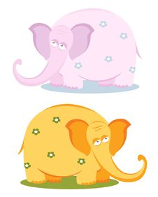 Free Funny Pink Elephant With Flowers Royalty Free Stock Photography - 23162887