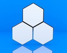 Three Blank Hexagon Box Display Stock Photo