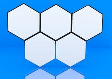 Free Five Blank Hexagon Box Display Royalty Free Stock Photos - 23163278