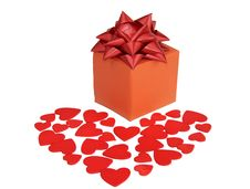 Free Valentines Heart And Gift Box Stock Images - 23164184