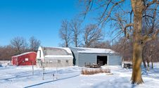 Free Farm Buildings In Winter Royalty Free Stock Image - 23165146