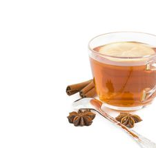 Free Cup Of Black Tea With A Lemon, Cinnamon, Anise Royalty Free Stock Image - 23169556