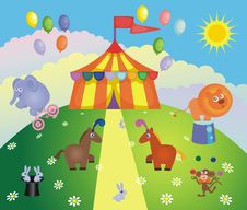 Free Circus Tent And Animals Royalty Free Stock Image - 23175866