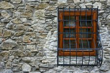 Free Stone Wall, Wooden Window Frame And Steel Grillage Royalty Free Stock Photo - 23179255