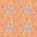 Free Love Seamless Texture With Flowers And Birds Stock Photos - 23183433