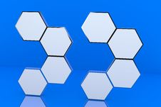 Free Eight Blank Hexagon Box Display Royalty Free Stock Image - 23181266
