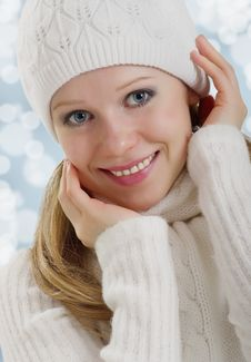 Beautiful Happy  Woman Outdoors In Winter Royalty Free Stock Image
