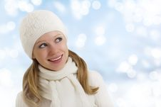 Free Beautiful Happy Girl In Winter Hat And Scarf Royalty Free Stock Photography - 23182557