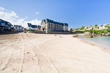 Free Urban Sand Beach In Breton Town Perros-Guirec Royalty Free Stock Image - 23182846