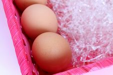 Free Fresh Eggs Into A Basket Royalty Free Stock Photography - 23187717