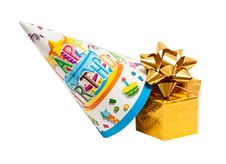 Free Brightly Colored Party Hat With Gift Box Stock Image - 23189551