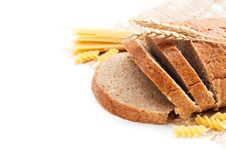 Free Fresh Bread With Wheat Spikes And Macaroni Royalty Free Stock Photo - 23189585
