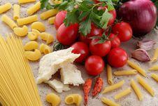 Free Pasta Amatriciana Tomato Onion Parmesan Royalty Free Stock Images - 23193389