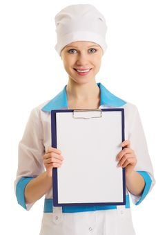 Free Nurse With An Advertising Tablet Stock Images - 23196354