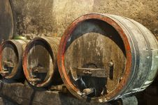 Three Old Wine Barrels Stock Image
