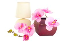 Free Modern Table Lamp And Artificial Orchid Flower Royalty Free Stock Image - 23197626