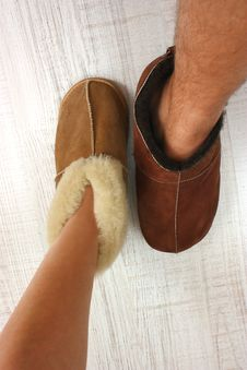 Free Two Feet In Slippers Stock Image - 23198681
