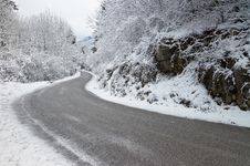 Free A Curve In The Mountains During Winter Stock Photos - 23199553