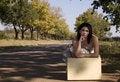 Free Sad Brunette With Landscape Stock Photography - 2327172