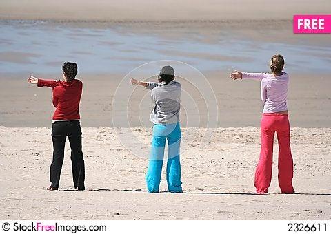 Free Three Girls In The Beach Stock Image - 2326611