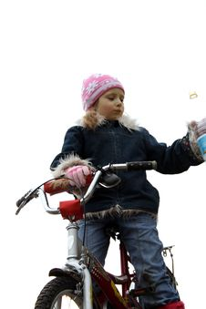 Free A Yong Girl Seat On Bicycle Royalty Free Stock Image - 2321776