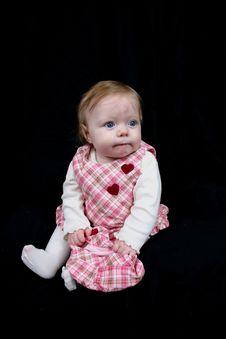 Cute Little Girl On Black Stock Photo