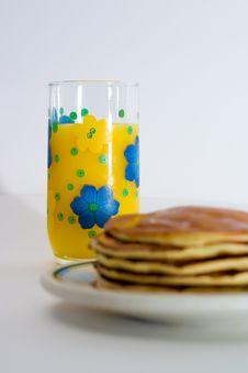 Free Orange Juice And Pancakes Royalty Free Stock Photography - 2325217