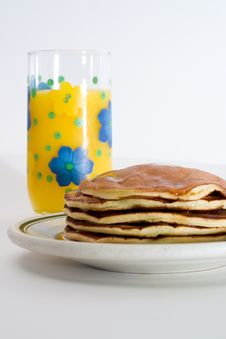 Free Orange Juice And Pancakes Stock Images - 2325244