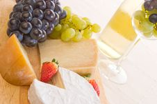 Free Wine, Grapes And Cheese Stock Image - 2326391
