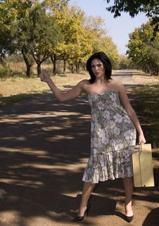 Free Brunette Hitchhiking-day Dress Stock Photos - 2327153