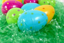 Spotted Plastic Easter Eggs Stock Images
