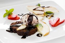Chocolate Cake Pear And Ice Cream Royalty Free Stock Images