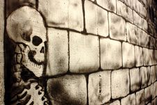 Free Skull Painted On A Wall Royalty Free Stock Images - 23206729
