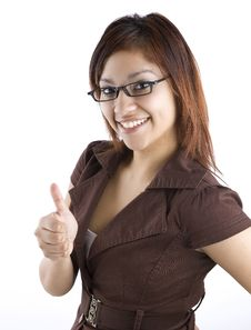 Free Hispanic Woman Giving Thumbs Up Royalty Free Stock Photos - 23208588