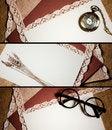 Free Three Vintage Headers Stock Image - 23210561