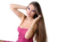 Free Beautiful Girl Professionally Pink Makeup Stock Image - 23211471