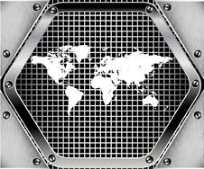 Map Of The World Metal Background Stock Image