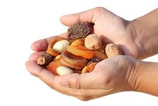 Free Bunch Of Dry Fruits In A Woman S Hand Stock Photography - 23214822