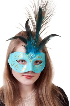 Free Girl In The Blue Masquerade Mask Stock Photo - 23216350