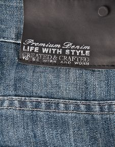 Free Jeans Texture With Black Label Stock Image - 23218341
